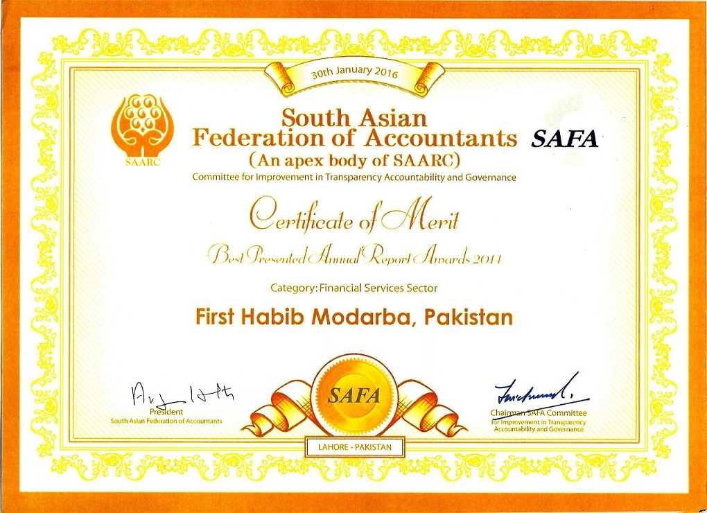 first habib modaraba  safa certificate of merit